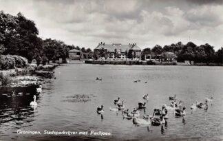 Ansichtkaart Groningen Stadsparkvijver met paviljoen en watervogels 1963 HC9713