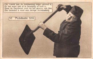 Ansichtkaart Militair Mobilisatie 1914 VI Tekst uit de Landweerrijmen van Chr. van Abkoude Soldaten WO1 HC9737