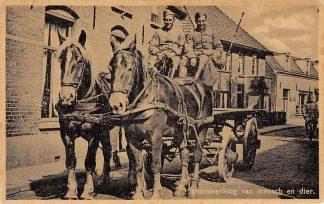 Ansichtkaart Militair Mobilisatie 1939 Samenwerking van mensch en dier Soldaten op paard en wagen WO2 Onbekend HC9753