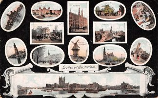 Ansichtkaart Amsterdam Groeten uit 1907 Molen Postkantoor P.H. Kade Vondelpark Vischvrouw Munt Beurs HC9802