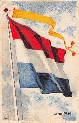 Ansichtkaart Bevrijding 1940 - 1945 Lente 1945 Vlaggekaarten Illustrator Smeele WO2 HC9855