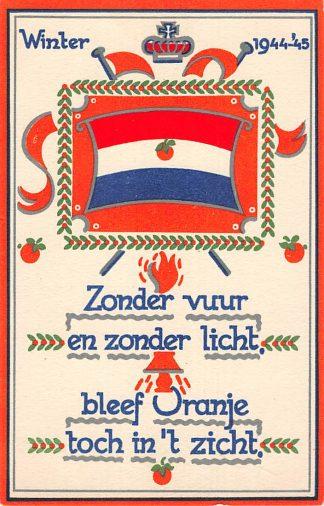 Ansichtkaart Bevrijding 1940 - 1945 Winter 1944-'45 Zonder vuur en zonder licht ... Voor Vrijheid en Recht Illustrator Stella den Boer WO2 HC9860