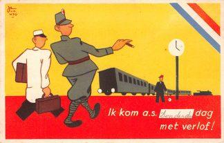 Ansichtkaart Militair Humor Illustrator Jan van de Weg Ik kom a.s. donderdag met verlof Trein Soldaten HC9868