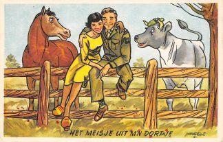 Ansichtkaart Militair Humor Het meisje uit m'n dorpje Soldaat met meisje Soldaten Illustrator Poortvliet HC9874