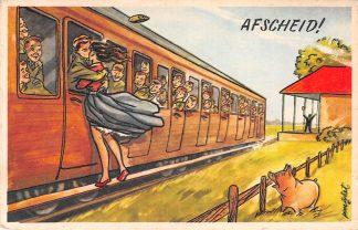 Ansichtkaart Militair Humor Afscheid Meisje neemt afscheid van soldaat Illustrator Poortvliet Soldaten HC9875