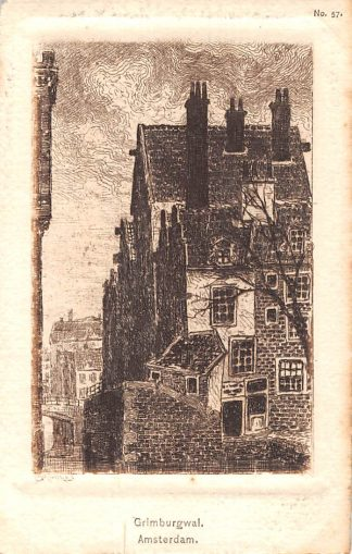 Ansichtkaart Amsterdam Grimburgwal Illustrator Mallhes HC10023