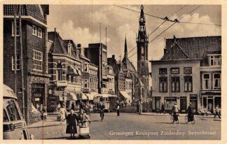 Ansichtkaart Groningen Kruispunt Zuiderdiep - Steentilstraat Bus Winkel De Gruyter HC10092