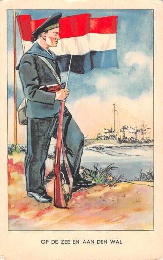 Ansichtkaart Militair WO2 Op zee en aan de wal marine Reclame N.V. Zeepfabriek De Klok Heerde HC10203