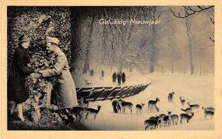 Ansichtkaart Militair WO2 Mobilisatie Gelukkig Nieuwjaar Herten in de sneeuw Winter Soldaten HC10219