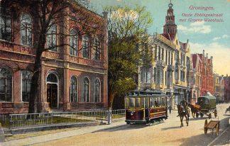 Ansichtkaart Groningen Oude Ebbingestraat met Groene Weeshuis Tram Paard en wagen HC10323