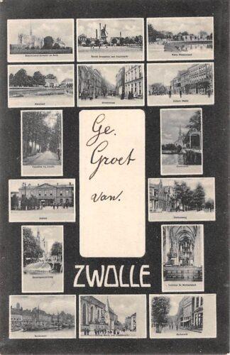 Ansichtkaart Zwolle Groet uit 15-luik Station Molen HC10347