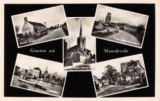 Ansichtkaart Moordrecht Groeten uit 1959 Gereformeerde en Hervormde Kerk Veerpont Dorpsstraat Kon. Tapijtfabrieken HC10372