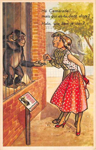 Ansichtkaart Militair Humor Soldaat met meisje in de dierentuin bij een kooi met een aap Soldaten HC9923