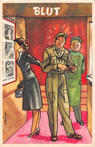 Ansichtkaart Militair Humor Blut Soldaat met meisje in de bioscoop Soldaten Illustrator Poortvliet HC9924