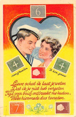 Ansichtkaart Postzegeltaal Marinier met meisje Filatelie Marine Militair HC9926