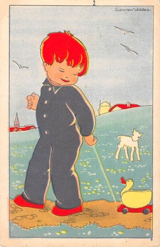 Ansichtkaart Fantasie Kind met speelgoed Reclame J. Bijloos Hoofd Eau de Cologne Den Haag op achterzijde Illustrator Lies van Willes HC9929