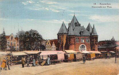 Ansichtkaart Amsterdam Nieuwmarkt met Waag Markt 1928 HC9952