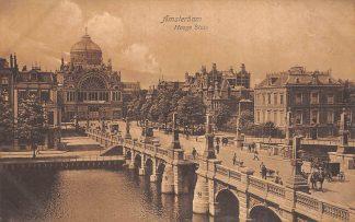 Ansichtkaart Amsterdam Hooge Sluis met Paleis voor Volksvlijt 1908 HC9955