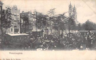 Ansichtkaart Amsterdam Waterlooplein markt met volk Volksleven Straatleven HC9959