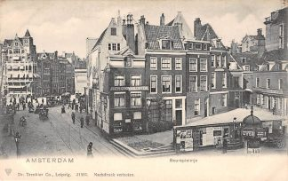 Ansichtkaart Amsterdam Beurspleintje Paardentram Tram Hoeden en pettenfabriek HC9977