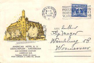 Ansichtkaart Amsterdam Reclame briefkaart American Hotel Leidscheplein 1938 HC9998