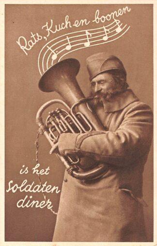 Ansichtkaart Militair Mobilisatie WO2 1939 Hoornblazer Rats, kuch en bonen is het soldatendiner Soldaten humor HC10568