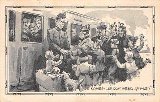 Ansichtkaart Militair Mobilisatie 1939 WO2 We komen je ook weer afhalen Soldaten Treinen HC10610