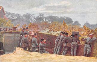 Ansichtkaart Militair Grenadiers in gedekte stelling met mitrailleur Soldaten WO1 HC10620