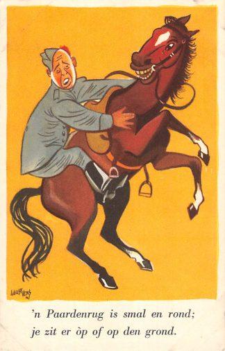 Ansichtkaart Militair Illustrator Guust Hens Mobilisatie serie 1940 WO2 Soldaat te paard Soldaten Humor HC10629