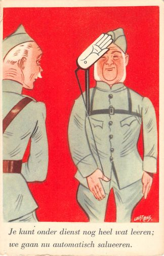Ansichtkaart Militair Illustrator Guust Hens Mobilisatie serie 1940 WO2 Automatisch salueren Soldaten humor HC10635