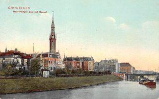 Ansichtkaart Groningen Verbindingskanaal Heeresingel over het Kanaal met kerk en binnenvaart schip Scheepvaart 1907 HC10642