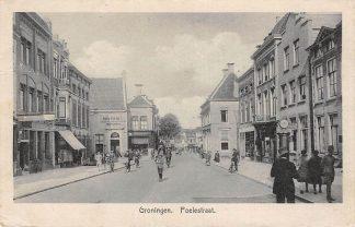 Ansichtkaart Groningen Poelestraat met SHELL benzinepomp HC10680