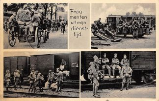 Ansichtkaart Militair Mobilisatie 1939 WO2 Fragmenten uit mijn diensttijd Trein Vracht auto Paard en wagen Soldaten HC10690