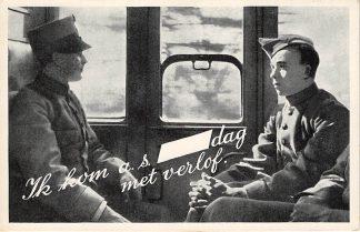 Ansichtkaart Militair Mobilisatie 1939 WO2 Ik kom a.s. ...dag met verlof Soldaten in de trein HC10692