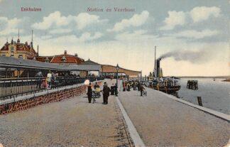 Ansichtkaart Enkhuizen Station en Veerboot 1912 Binnenvaart schepen Scheepvaart Spoorwegen Treinen HC10723