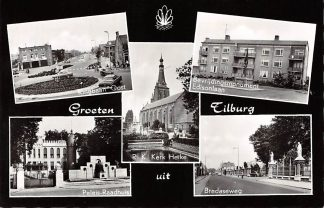 Ansichtkaart Tilburg Groeten uit 1965 Ringbaan Oost Paleis-Raadhuis R.K. Kerk Heike Bredaseweg Bevrijdings monument Edisonlaan HC10724