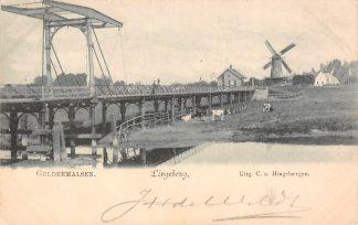 Ansichtkaart Geldermalsen Lingebrug met Molen 1900 Kleinrondstempel HC10765
