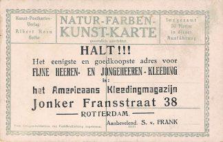 Ansichtkaart Rotterdam Reclame Americaans Kleedingmagazijn Jonker Fransstraat 38 S. v. Frank Voorzijde Fliegerstadt Gotha Doppeldecker Flugplatz Vliegtuigen Duitsland Europa HC10788