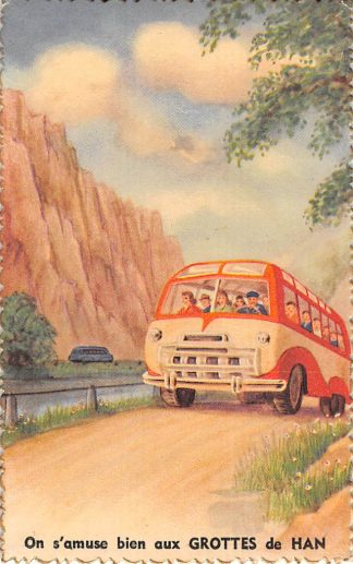 Ansichtkaart België On s'amuse bien aux Grottes de Han Bus Fantasie Europa HC10805