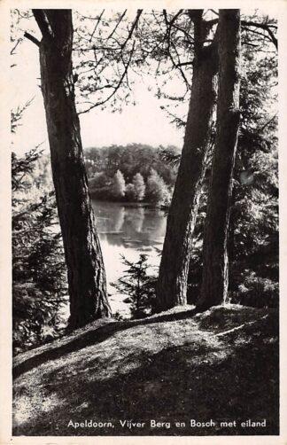 Ansichtkaart Apeldoorn Vijver Berg en Bosch met eiland 1951 HC10840