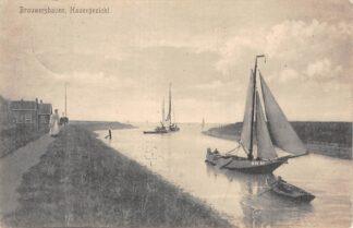 Ansichtkaart Brouwershaven Havengezicht Vissers schip BH 18 Scheepvaart Schepen 1915 HC10846