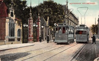 Ansichtkaart Rotterdam Kruisstraat met Elekt. tram RTM Lijn 4 no's 13 en 41 1907 HC10857