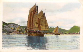 Ansichtkaart China Hongkong Fotokaart Full sail fishing boat 1953 Azië HC10903