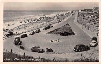 Ansichtkaart Katwijk aan Zee Boulevard en Strand Auto 1951 HC10904