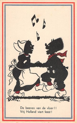 Ansichtkaart Bevrijding WO2 1945 De beenen van de vloer! Illustrator Steen Zwartjes Fantasie HC10962
