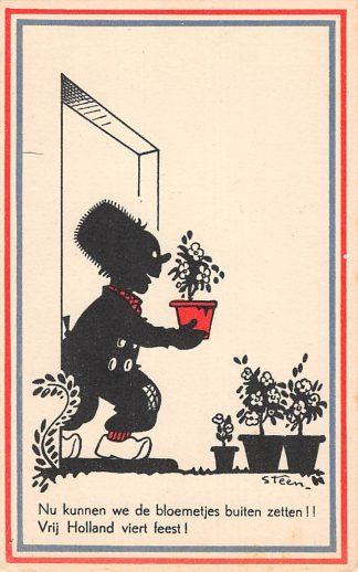 Ansichtkaart Bevrijding WO2 1945 Nu kunnen we de bloemetjes buiten zetten Illustrator Steen Zwartjes Fantasie HC10965
