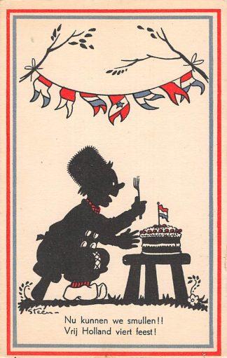Ansichtkaart Bevrijding WO2 1945 Nun kunnen we smullen!! Illustrator Steen Zwartjes Fantasie HC10966