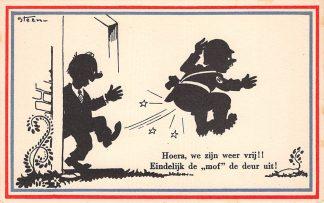 Ansichtkaart Bevrijding WO2 1945 Hoera, we zijn weer vrij!! Illustrator Steen Zwartjes Fantasie HC10968