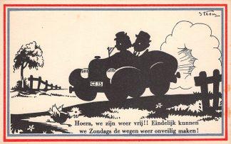 Ansichtkaart Bevrijding WO2 1945 Hoera, we zijn weer vrij!! Illustrator Steen Zwartjes Fantasie HC10969