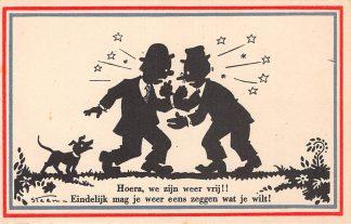 Ansichtkaart Bevrijding WO2 1945 Hoera, we zijn weer vrij! Illustrator Steen Zwartjes Fantasie Humor HC10970
